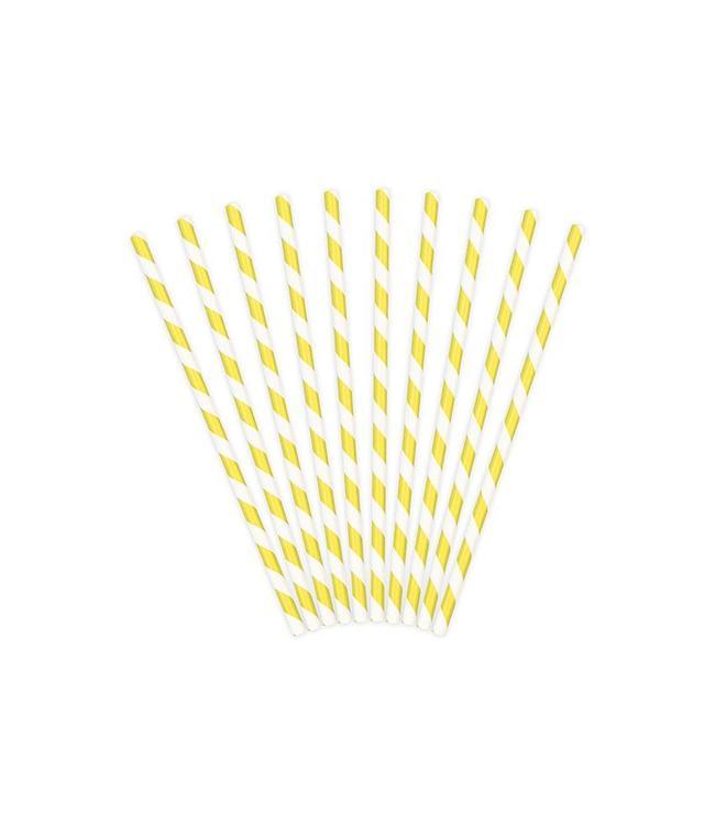 Partydeco Rietjes Streepjes Geel en Wit - 10 stuks - 20 cm