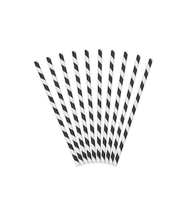 Partydeco Rietjes Streepjes Zwart en Wit - 10 stuks - 20 cm