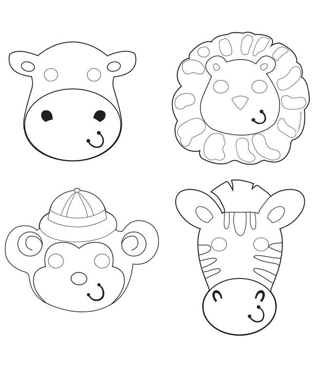 Creative Party Safari Avontuur Inkleurmaskers - 12 stuks - 4 dieren