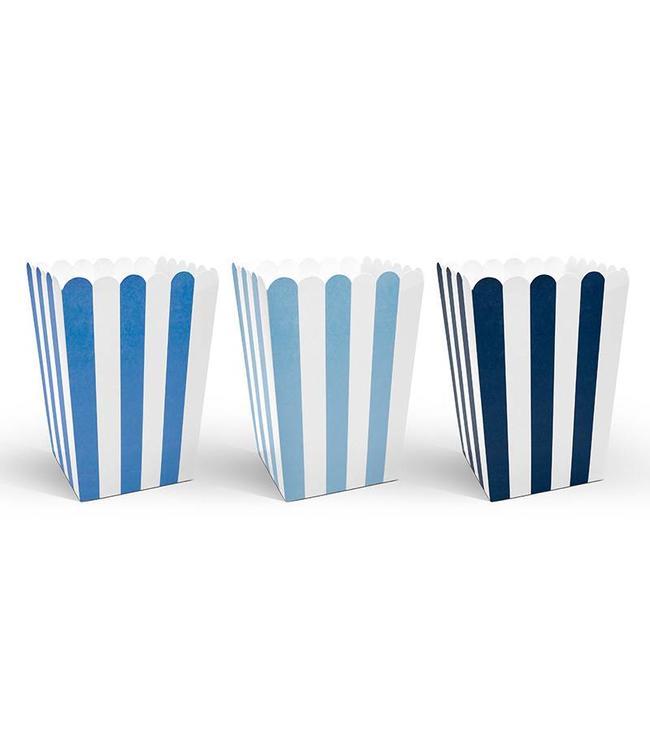 Partydeco Popcorn Bakjes Blauw en Wit - 6 stuks