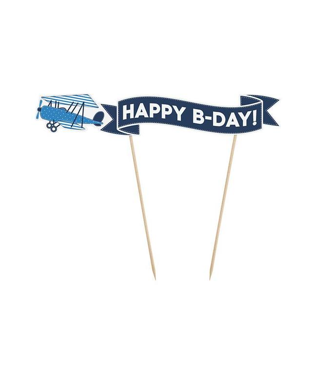 Partydeco Vliegtuigjes Cake Topper - per stuk - Taarttopper