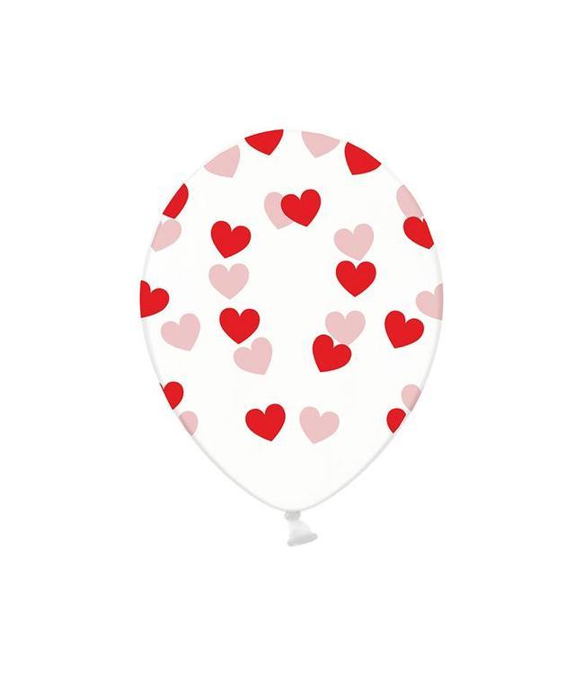 Partydeco Ballonnen met Rode Hartjes, crystal clear - 6 stuks