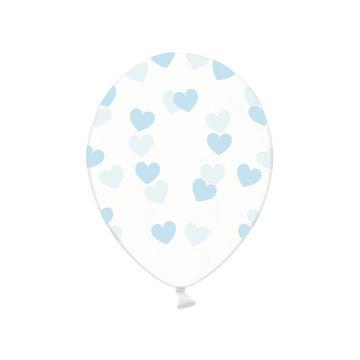 Partydeco Ballonnen met Lichtblauwe Hartjes, crystal clear - 6 stuks