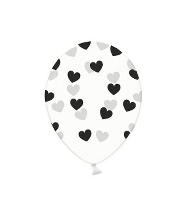 Partydeco Ballonnen met Zwarte Hartjes, crystal clear - 6 stuks