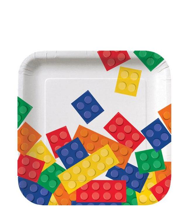 Creative Party Lego Blokken Bordjes - 8 stuks - 17 cm