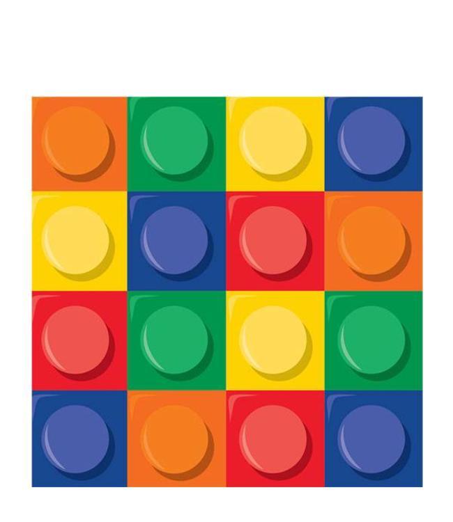 Creative Party Lego Blokken Servetten - 16 stuks