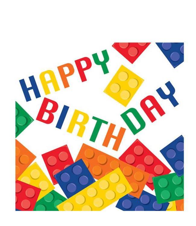 Creative Party Lego Blokken Servetten Happy Birthday - 16 stuks