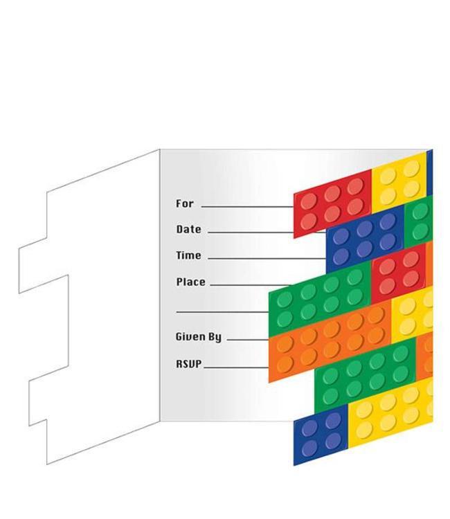 Creative Party Lego Blokken Uitnodigingen - 8 stuks