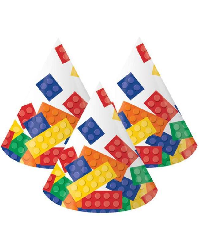 Creative Party Lego Blokken Hoedjes - 8 stuks