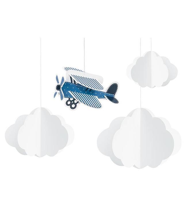 Partydeco Vliegtuigjes Hangdecoraties 3D - 4 stuks