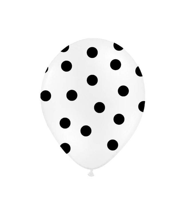 Partydeco Polka Dots Ballonnen Wit met Zwarte stippen - 6 stuks