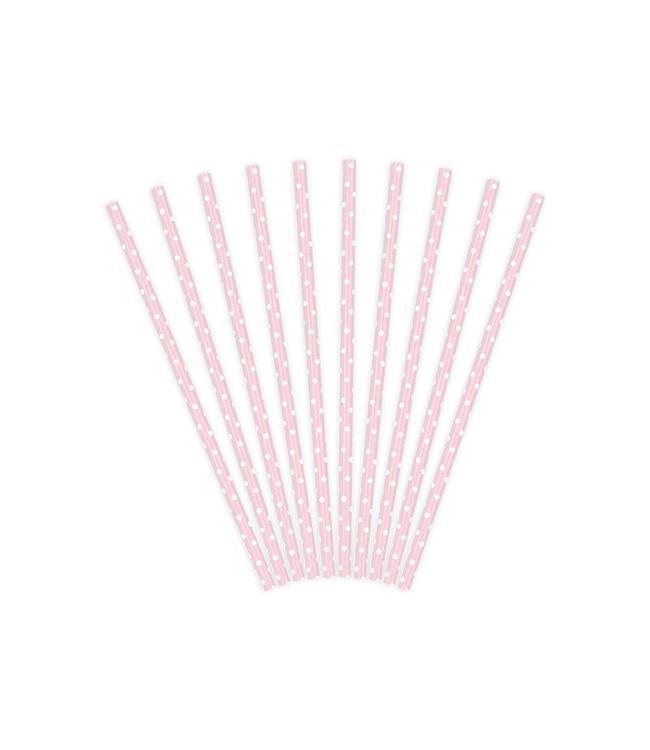 Partydeco Rietjes Lichtroze met Witte Stippen - 10 stuks