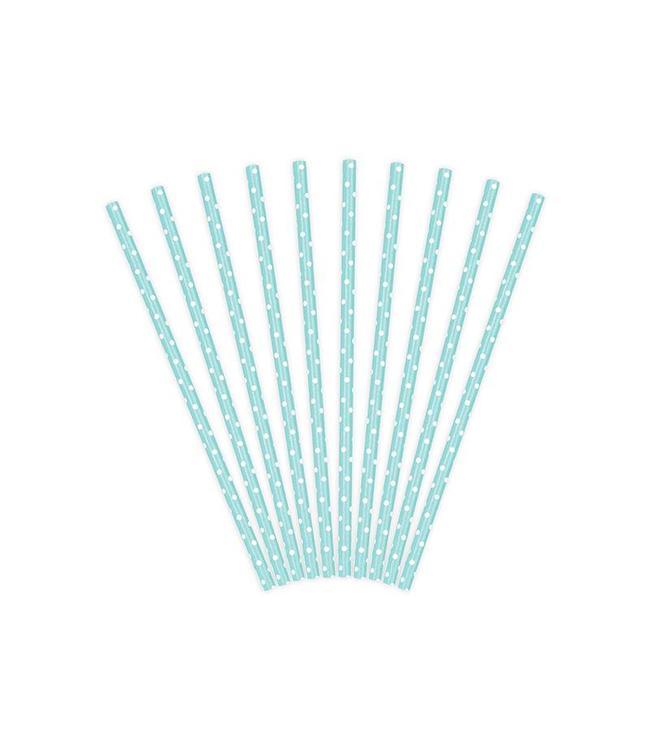 Partydeco Rietjes Babyblauw met Witte Stippen - 10 stuks