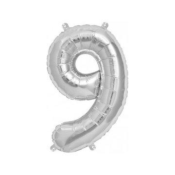 Folat XL Cijfer 9 Folieballon Zilver - 86 cm