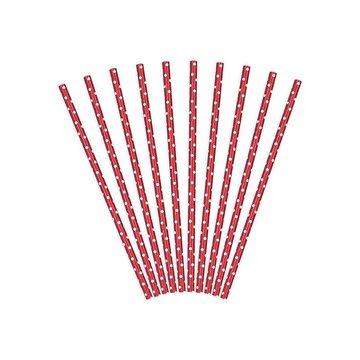 Partydeco Rietjes Rood met Witte Stippen - 10 stuks