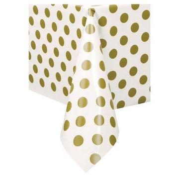 Unique Polka Dots Tafelkleed Wit met Gouden Stippen - 1.37 x 2.74 meter