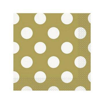 Unique Polka Dots Servetten Goud met Witte stippen - 16 stuks