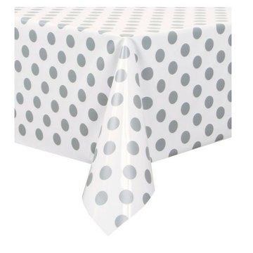 Unique Polka Dots Tafelkleed Wit met Zilveren Stippen - 1.37 x 2.74 meter