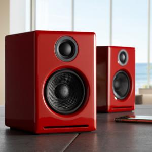 AudioEngine A2 + draadloze luidsprekers (rood)