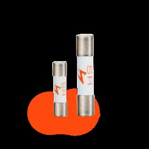 Oranje zekeringen 5x20 mm en 6,3x32 mm