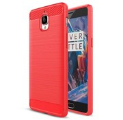 OPPRO Brushed Rugged Armor Rood Hoesje OnePlus 3/3T