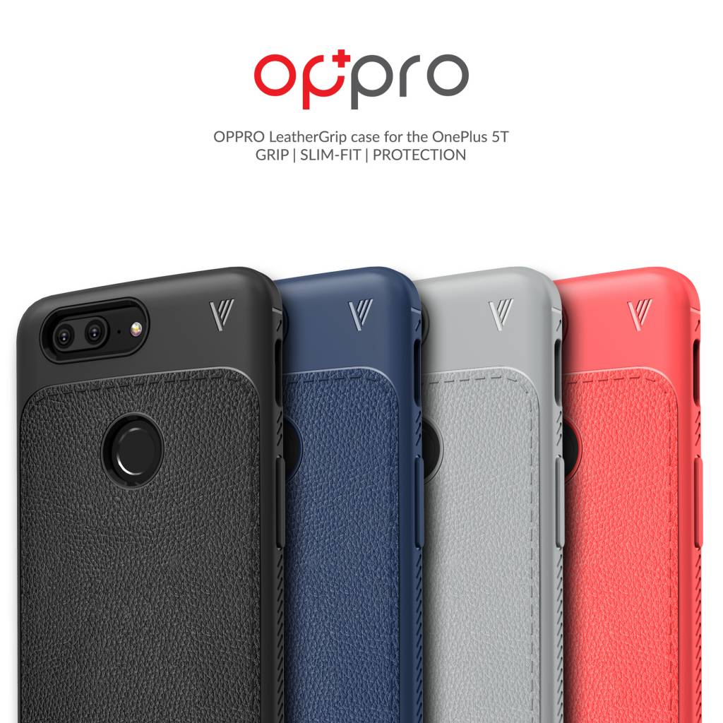 pretty nice 00f9f c12e5 OPPRO LeatherGrip Case Red OnePlus 5T