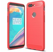 OPPRO Carbon Fiber Design Hoesje Rood OnePlus 5T