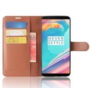 OPPRO Wallet Flip Case Bruin OnePlus 5T