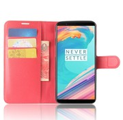 OPPRO Wallet Flip Case Red OnePlus 5T