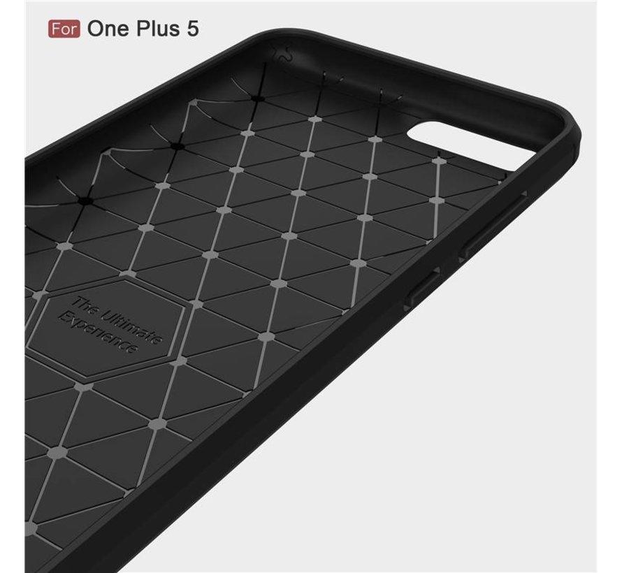 Carbon Fiber Design Case Zwart OnePlus 5