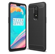 OPPRO Brushed Carbon Hoesje Zwart OnePlus 6