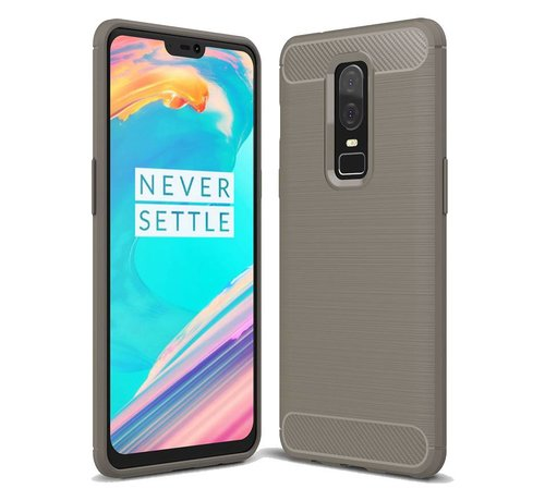 OPPRO Brushed Carbon Hoesje Grijs OnePlus 6