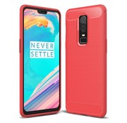 OPPRO Brushed Carbon Hoesje Rood OnePlus 6