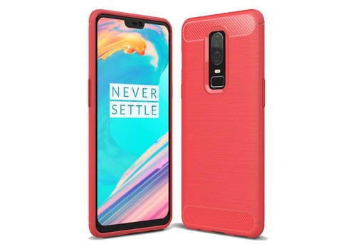 OPPRO Brushed Carbon Case Red OnePlus 6