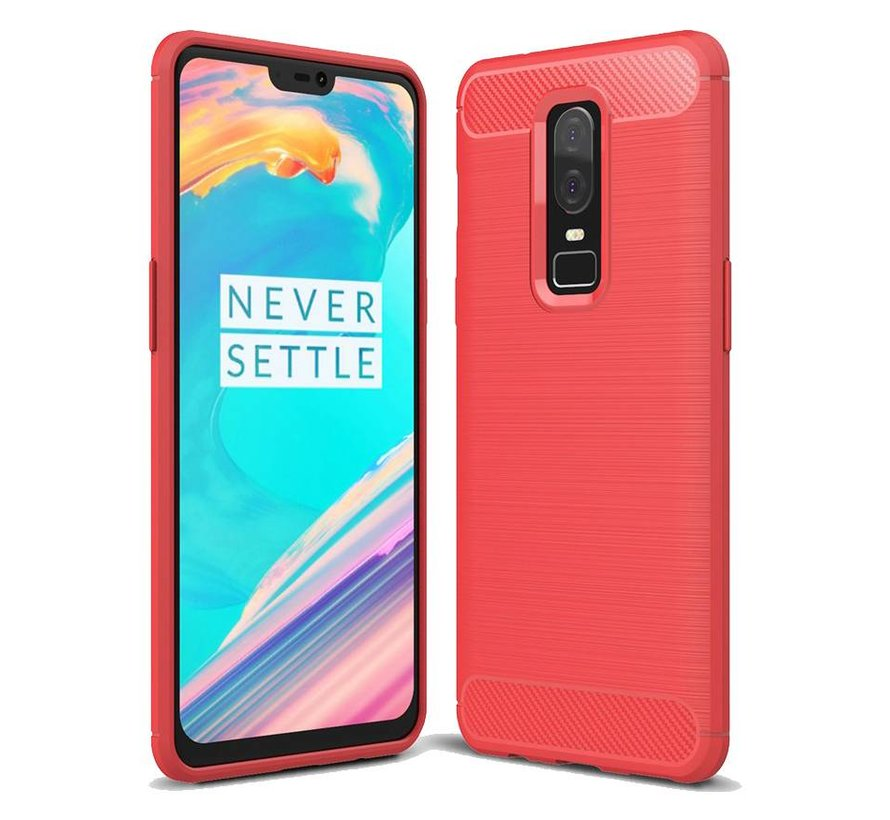 Brushed Carbon Case Red OnePlus 6