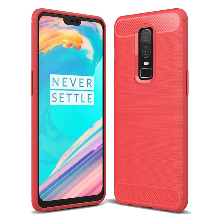 Brushed Carbon Hoesje Rood OnePlus 6