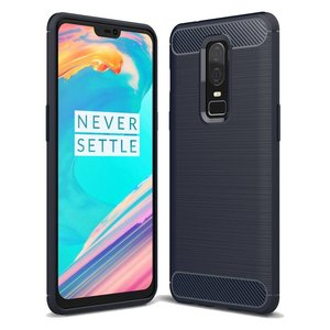 OPPRO Brushed Carbon Hoesje Blauw OnePlus 6