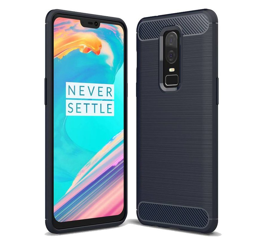 Brushed Carbon Hoesje Blauw OnePlus 6