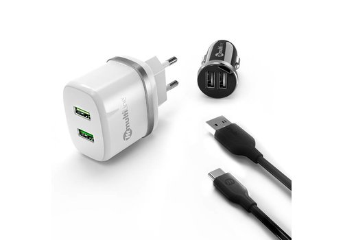 Multiline PowerKit 2.4A / 2.1A Car Charger + Travel Charger + USB C Cable