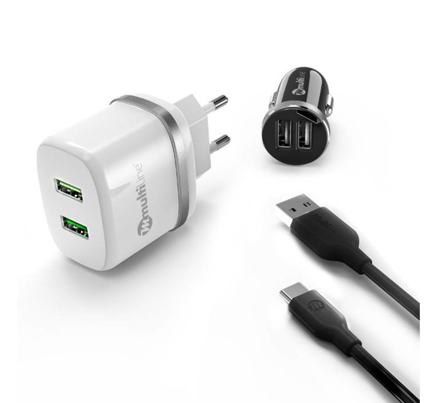 PowerKit 2.4A / 2.1A Car Charger + Travel Charger + USB C Cable