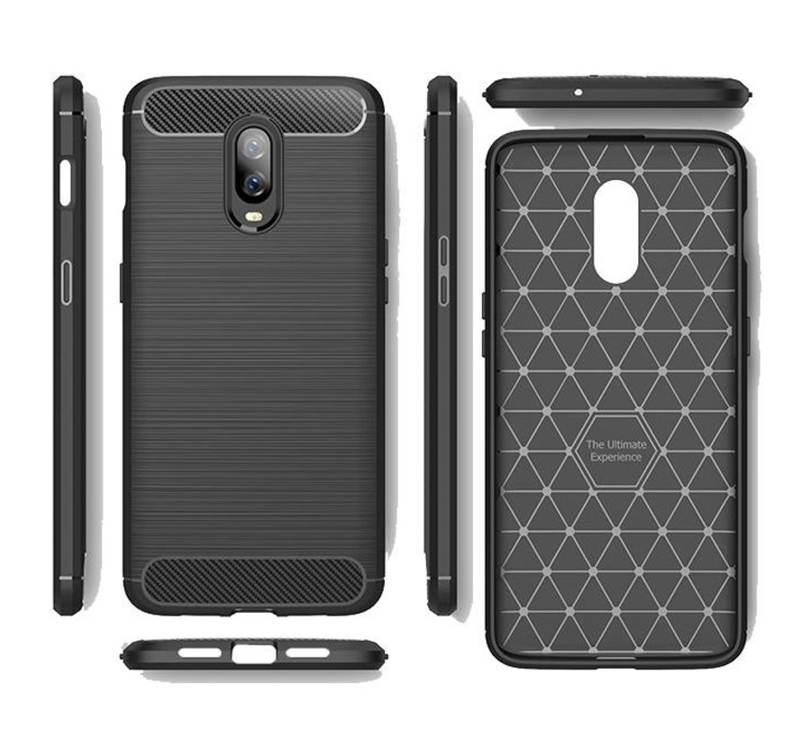 OnePlus 6T Hoesje Brushed Carbon Blauw