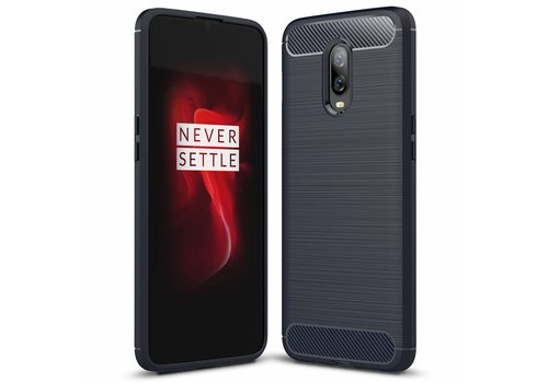 OPPRO OnePlus 6T Hoesje Brushed Carbon Blauw