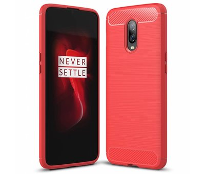 OPPRO OnePlus 6T Hoesje Brushed Carbon Rood
