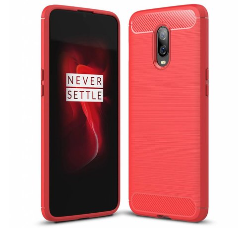 OPPRO OnePlus 6T Cover Brushed Carbon Red