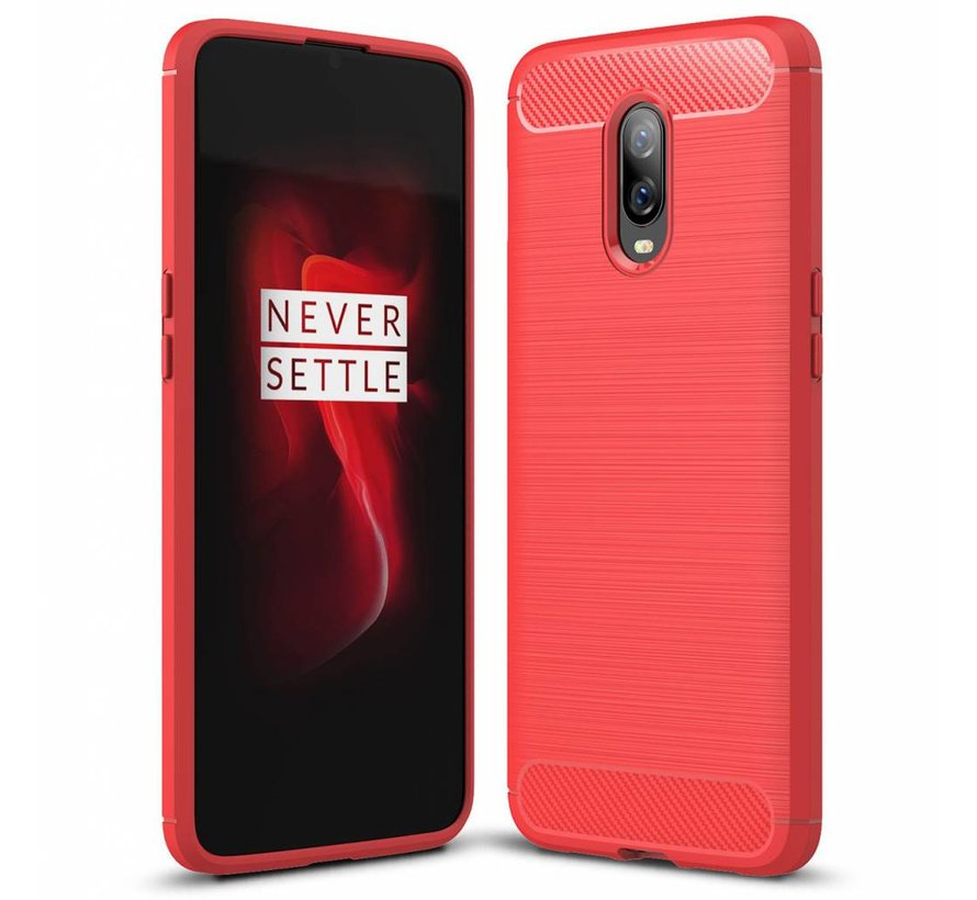 OnePlus 6T Hoesje Brushed Carbon Rood