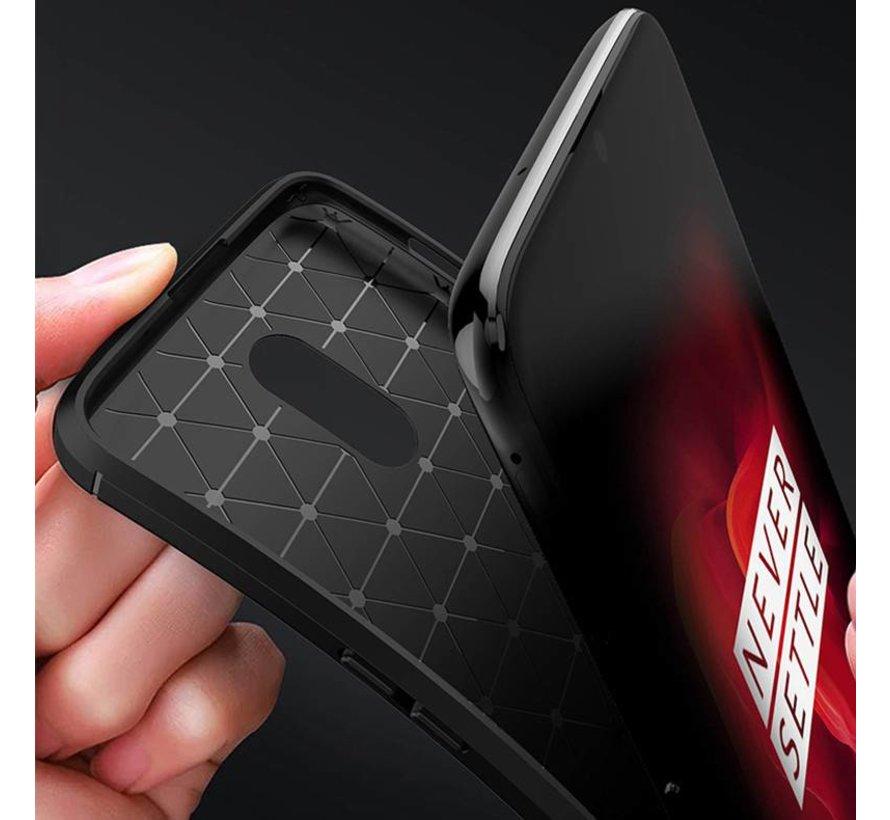 OnePlus 6T Hoesje Carbon Structuur Zwart