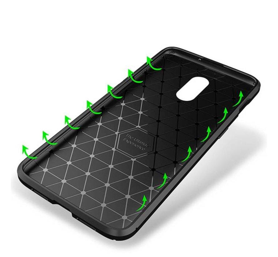 OnePlus 6T Hoesje Carbon Structuur Bruin