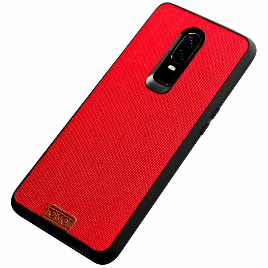 OnePlus 6 Hoesje Fabric Rood