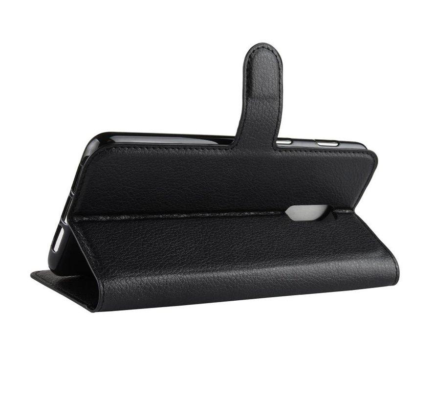 OnePlus 6T Wallet Flip Case Schwarz