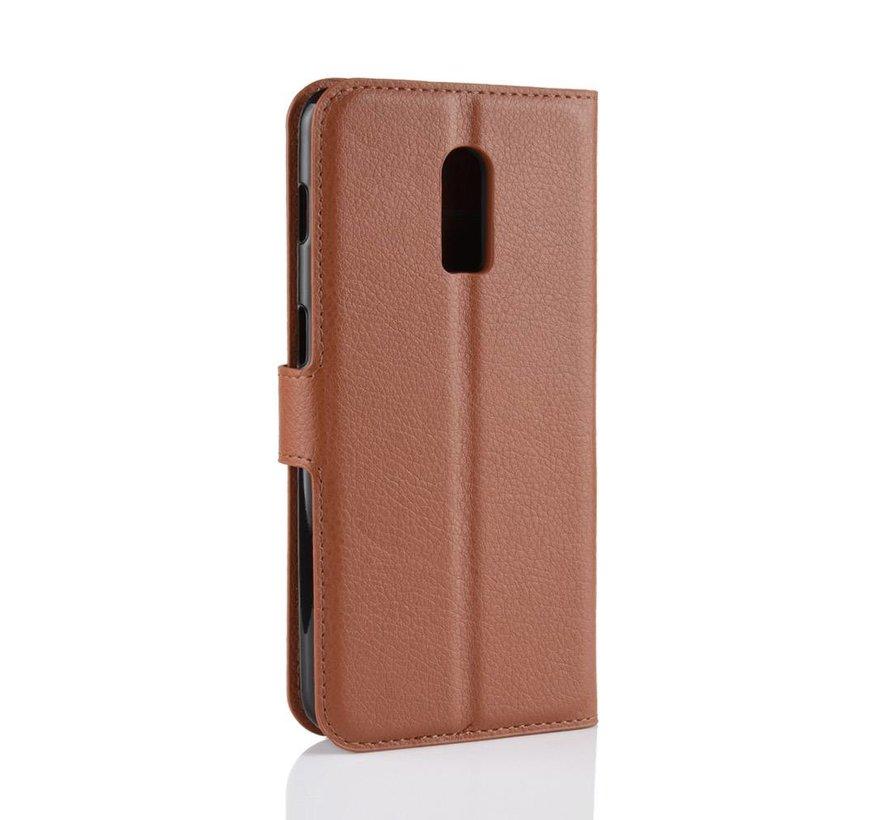 OnePlus 6T Hoesje Wallet Flip Case Bruin